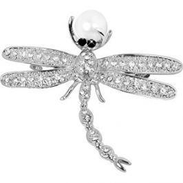 JwL Luxury Pearls Nádherná brošňa Vážka 2v1 s pravou perlou JL0383
