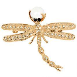 JwL Luxury Pearls Nádherná pozlátená brošňa Vážka 2v1 s pravou perlou JL0384