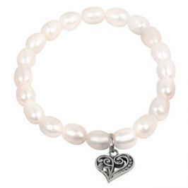 JwL Luxury Pearls Jemný náramok z pravých perál s kovovým srdiečkom JL0417