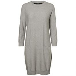 Vero Moda Dámske šaty Galtine 7/8 O-neck Dress Light Grey Melange XS