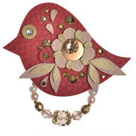 Petra Švarcová Červená brošňa so zlatými detailmi Vták