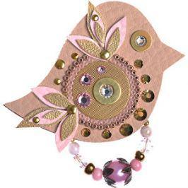 Petra Švarcová Hnedá brošňa s ružovými detailmi Vták