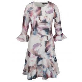 3c2e5ab1b760 Ružovo-krémové vzorované šaty s volánmi na rukávoch Little Mistress