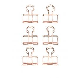 Súprava šiestich klipsov v ružovozlatej farbe Kikkerland