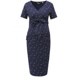 Tmavomodré vzorované tehotenské šaty so zaväzovaním Dorothy Perkins Maternity