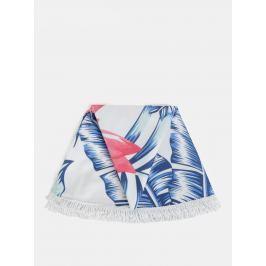 Ružovo-biela kvetovaná okrúhla plážová deka ZOOT