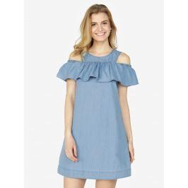 3893544fc755 Detail zboží · Svetlomodré rifľové šaty s prestrihmi na ramenách a volánom VERO  MODA Samba
