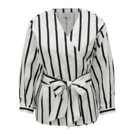 Čierno-biela pruhovaná zavinovacia blúzka Selected Femme Nadine