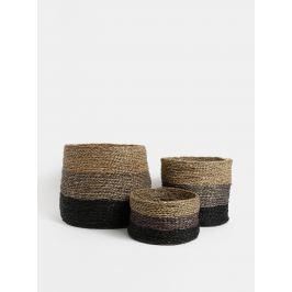 Súprava troch pletených košov v hnedej farbe Dakls