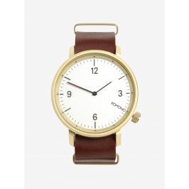 Unisex hodinky v zlatej farbe s koženým remienkom Komono Magnnus
