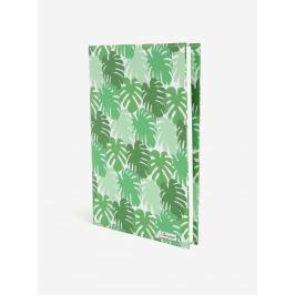 Zelený zápisník s motívom listov I Like Paper A5