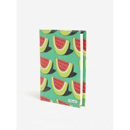 Zelený zápisník s motívom melónov I Like Paper A6