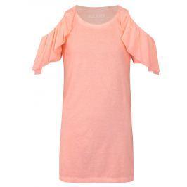 Ružové šaty s prestrihmi na ramenách a volánmi Blue Seven