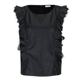 Čierny koženkový top s volánmi VILA Lacan