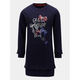 Tmavomodré dievčenské šaty s potlačou a volánmi Blue Seven