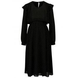 Čierne bodkované šaty s volánmi Dorothy Perkins Maternity
