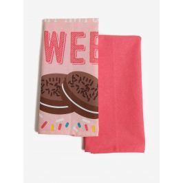 Súprava dvoch ružových kuchynských utierok s potlačou sušienok SIFCON Sweet
