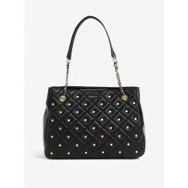 00c6d54575 Čierna veľká kožená kabelka s detailmi v zlatej farbe DKNY Barbara