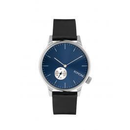 Unisex hodinky v striebornej farbe s čiernym koženým remienkom Komono Winston Subs