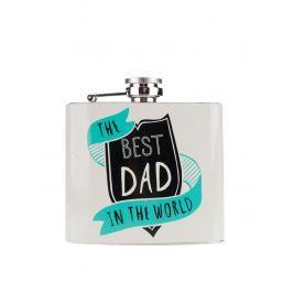 Sivá ploskačka pre najlepších tatinkov v darčekovej krabičke CGB