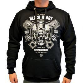 BLACKHEART Piston Skull Hood čierna - M