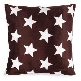 JAHU Vankúšik mikroplyš Stars hnedá, 40 x 40 cm