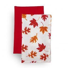 Forbyt Kuchynská utierka Jesenné lístie, oranžová, 45 x 70 cm, sada 2 ks