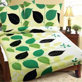Bellatex Obliečky krep Zelené listy, 140 x 220 cm, 70 x 90 cm