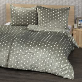 4Home obliečky mikroflanel Stars sivá, 160 x 200 cm, 2 ks 70 x 80 cm, 160 x 200 cm, 2 ks 70 x 80 cm