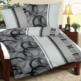 Bellatex Krepové obliečky Špirály sivá, 240 x 200 cm, 2 ks 70 x 90 cm