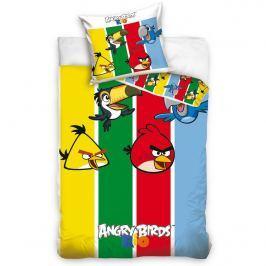 Tip Trade Detské bavlnené obliečky Angry Birds Stripes, 140 x 200 cm, 70 x 80 cm