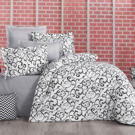 Kvalitex Bavlnené obliečky Delux Sabina čiernobiela, 140 x 200 cm, 70 x 90 cm