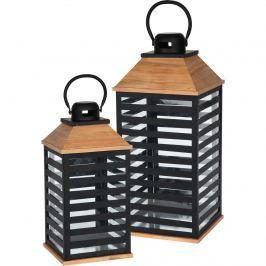 Kovový lampáš 2-dielna sada, čierna